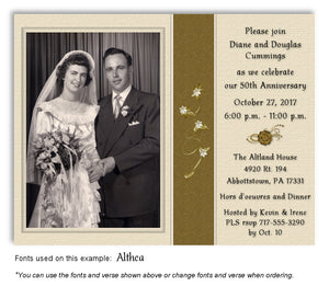 Gold Subtle Floral Invitation Anniversary Photo Magnet