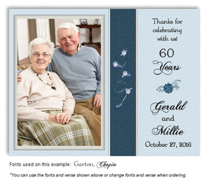 Blue Subtle Floral Thank You Anniversary Photo Magnet
