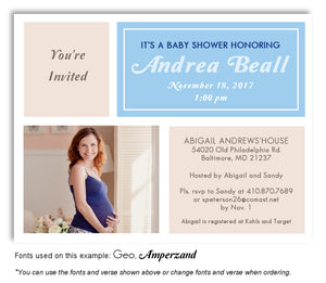 Bisque-Blue Invitation Photo Baby Shower Magnet