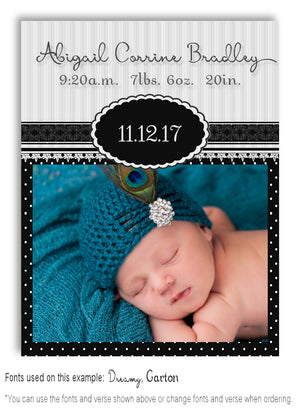 Black Photo Birth Announcement Magnet