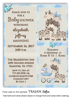 Blue Giraffe Invitation Baby Shower Magnet