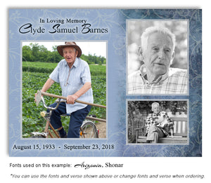 Blue Collage Memorial Photo Magnet with soft etched background