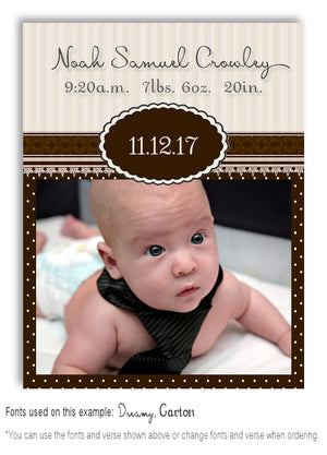 Brown Photo Birth Announcement Magnet