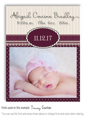 Burgundy Photo Birth Announcement Magnet