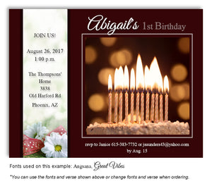 Burgundy Cake Invitation Birthday Magnet
