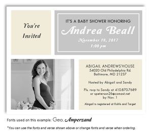 Cream-Gray Invitation Photo Baby Shower Magnet