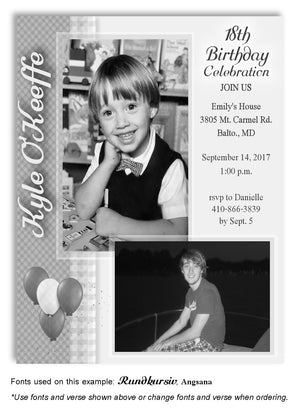 Light Gray Plaid Invitation Photo Birthday Magnet