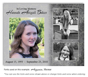 Gray Collage Memorial Photo Magnet with soft etched background