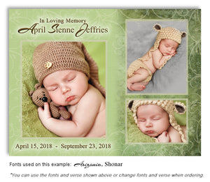 Green Collage Memorial Photo Magnet with soft etched background