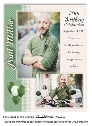 Green Plaid Thank You Photo Birthday Magnet
