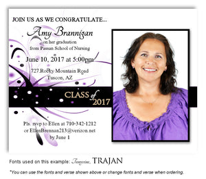 Lavender Invitation Photo Graduation Magnet