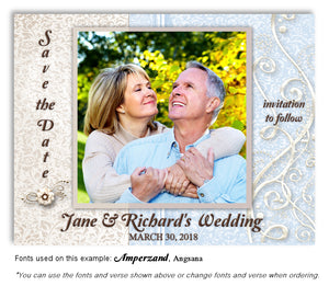 Light Blue Dressed Up Save the Date Wedding Photo Magnet