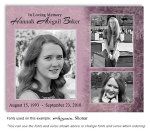 Mauve Collage Memorial Photo Magnet with soft etched background