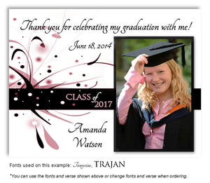 Mauve Thank You Photo Graduation Magnet