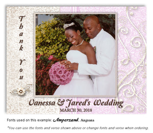 Mauve Dressed Up Thank You Wedding Photo Magnet