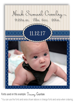 Navy Photo Birth Announcement Magnet