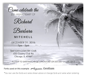 Black and White Tropical Breeze Invitation Anniversary Magnet