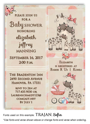 Salmon Giraffe Invitation Baby Shower Magnet