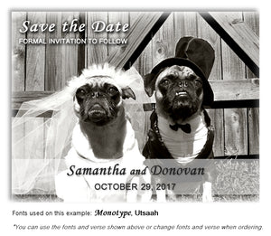 Pug Save the Date Wedding Magnet