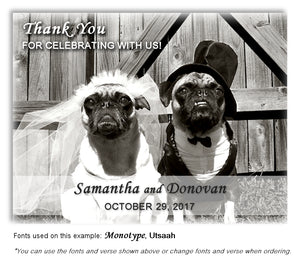 Pug Thank You Wedding Magnet