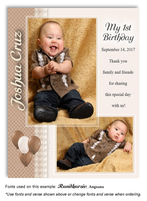 Tan Plaid Thank You Photo Birthday Magnet