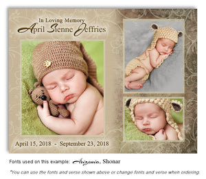 Taupe Collage Memorial Photo Magnet with soft etched background
