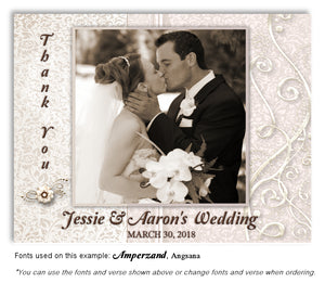 Taupe Dressed Up Thank You Wedding Photo Magnet