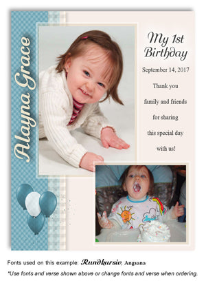 Turquoise Plaid Thank You Photo Birthday Magnet