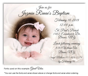 White Invitation Baptism Gown Photo Magnet