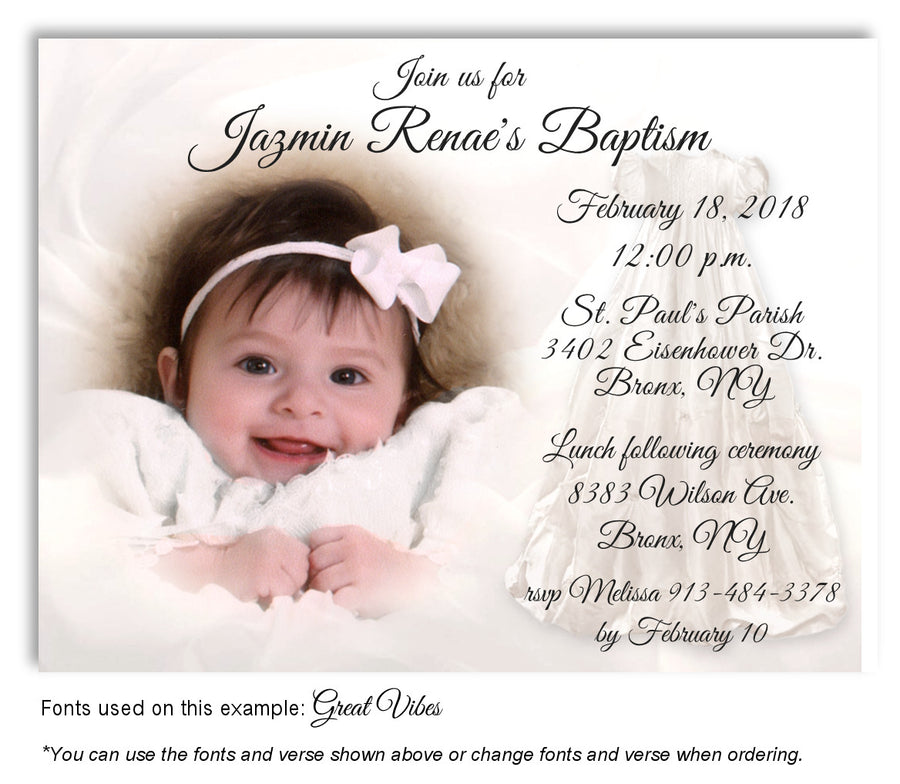 Cream Thank You Baptism Gown Photo Magnet