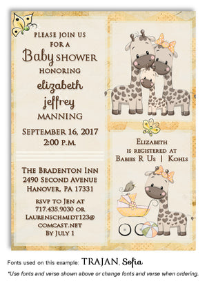 Yellow Giraffe Invitation Baby Shower Magnet