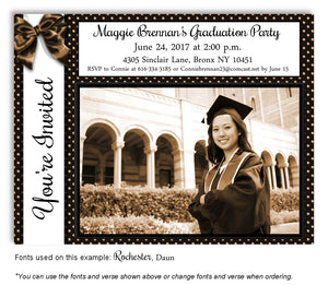Black-Brown Invitation Photo Graduation Magnet