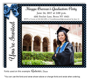 Black-Dark-Blue Invitation Photo Graduation Magnet