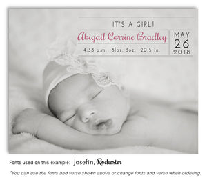 Black and White Photo Birth Announcement Magnet