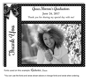 Black-White Thank You Photo Graduation Magnet