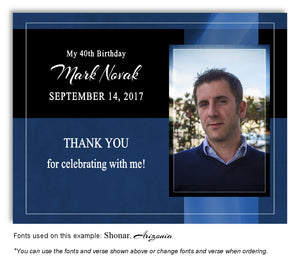 Blue Banner Thank You Photo Birthday Magnet
