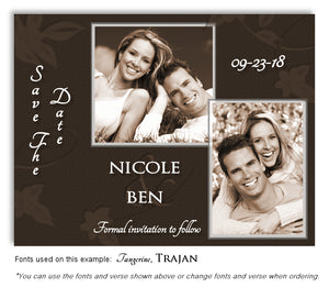 Brown Save the Date Wedding Photo Magnet