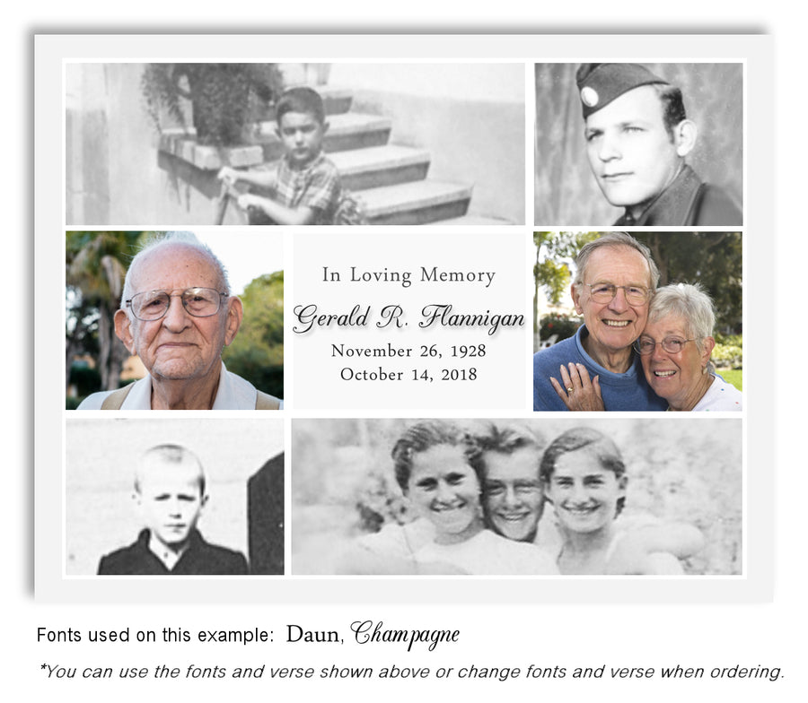 Collage memorial photo magnet