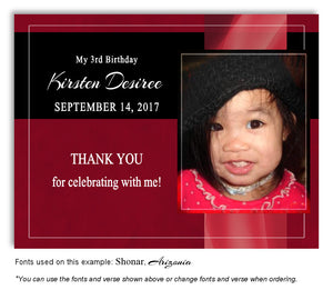 Crimson Banner Thank You Photo Birthday Magnet
