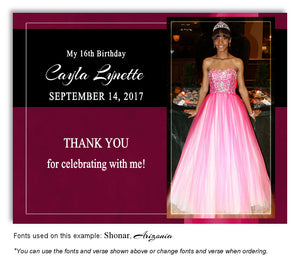 Dark Pink Banner Thank You Photo Birthday Magnet
