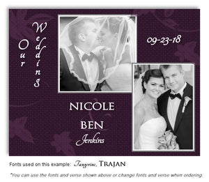 Dark Plum Thank You Wedding Photo Magnet