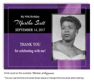 Purple Banner Thank You Photo Birthday Magnet