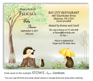 Summer Hedgehog Invitation Baby Shower Magnet