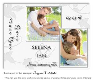 White Save the Date Wedding Photo Magnet