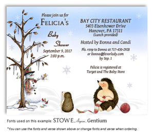 Winter Hedgehog Invitation Baby Shower Magnet