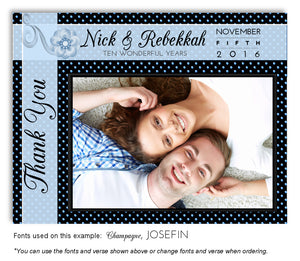 Blue Polka Dot Thank You Photo Anniversary Magnet