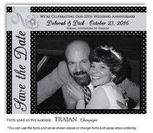 Silver Polka Dot Save the Date Photo Anniversary Magnet