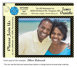 Yellow Polka Dot Invitation Photo Anniversary Magnet