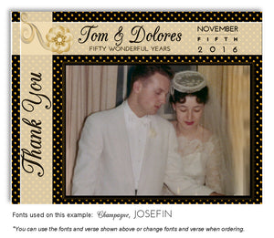 Gold Polka Dot Thank You Photo Anniversary Magnet