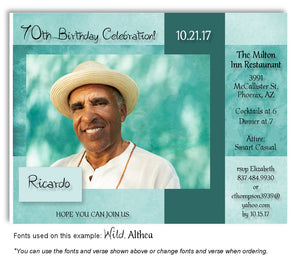 Aqua Framed Invitation Photo Birthday Magnet